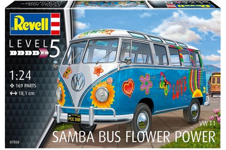 Revell of germany vw t1 samba bus flower power 124 80 7050 up 124 vw t1 samba bus flower power thecheapjerseys Choice Image