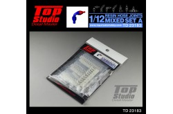 Top Studio 1/12 resin hose joints mixed set A - TD23183