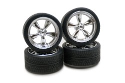 "Pegasus Hobbies 1/24 Chrome ""T's"" Rims W/Tires - 1274"