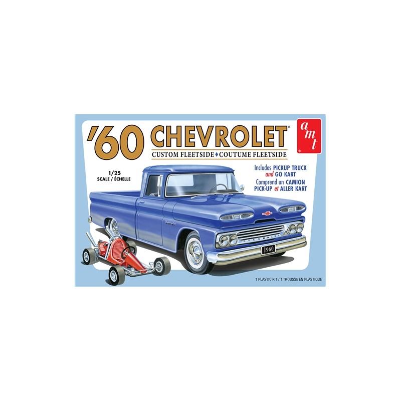 AMT 1960 Chevy Custom Fleetside Pickup w/Go Kart Model Kit - 1/25 Scale